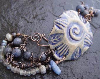 Indigo and Gray Stoneware Bracelet with Labradorite, Lapis, Quartz and Copper