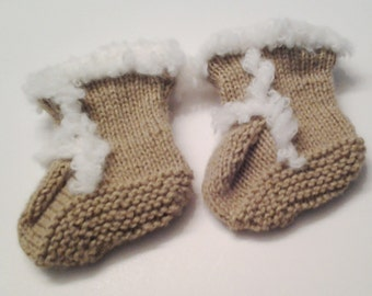 Knit Ugg Style Booties - 0-6 Months