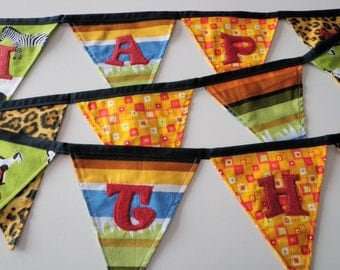 Happy Birthday Fabric Banner - Tribal