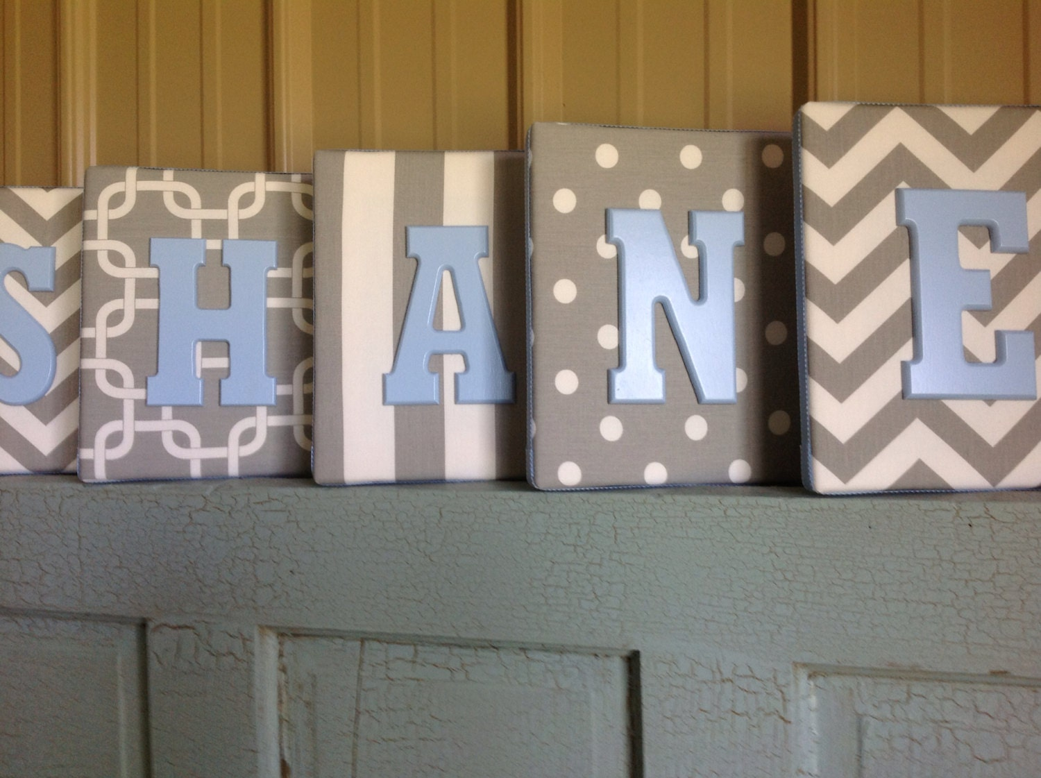 8x10 upholstered letter plaque nursery name decor in gray and. Black Bedroom Furniture Sets. Home Design Ideas