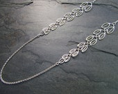 Olive Branch Lariat Necklace, Linked tapered leaves, 30 inches, Lobster clasp, Rolo chain, Choose your metal