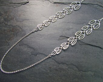 Olive Branch Lariat Necklace, Linked tapered leaves, Choose your metal, Length 30""