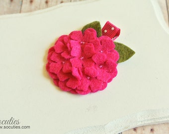 Hot pink Hydrangea Felt Headband or Felt Hair Clip Felt Flower Headband, newborn headband, baby headband, girl headband.