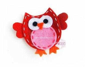 Red and Pink OWL Felt hair clip, baby hair clip, girl hair clip / barrette ...