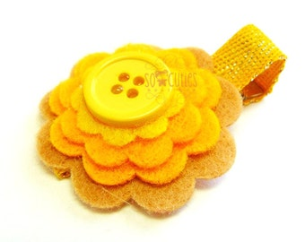 Yellow Sweet felt flower hair clip / baby hair clip / girl barrette / summer hair clip.