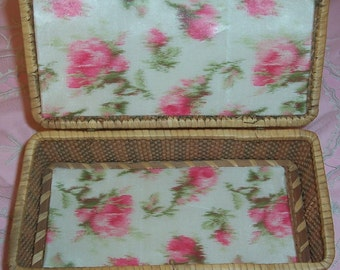 ANTIQUE, Shaker Basket lined with Watered Silk Pink ROSES Ribbon...SALE