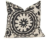 Decorative Throw Pillow Cover Rustic Black on Stone Denton Pillow 20 x 20 Inches Suzani by Premier Prints