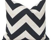 Decorative Throw Pillow Cover Rustic Black Chevron Stone Denton Pillow 22 x 22 Inches Zippy Chevron Black by Premier Prints