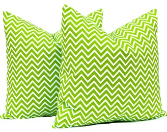 Green Chevron Pillow Covers, Decorative Pillow, Chevron Throw Pillow Cover Green Pillows One 18 x 18 Inches Premier Prints Cosmo