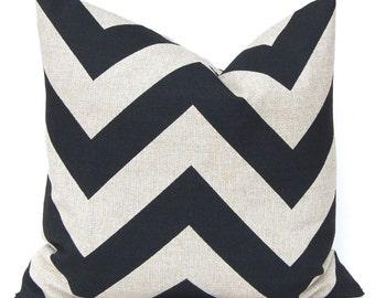 Decorative Throw Pillow Cover - Burlap Pillow Cover - Chevron Pillow Cover - Rustic Black Chevron on Stone Denton 20 x 20 - Zippy Chevron