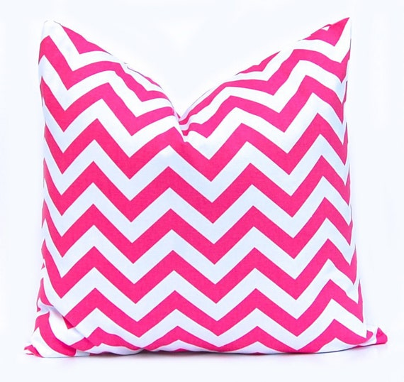 Throw Pillow Cover - Chevron Pillow Cover - Hot Pink and White Chevron - Pink Bedding - Girls Bedroom Decor - Decorative Pillow Cover