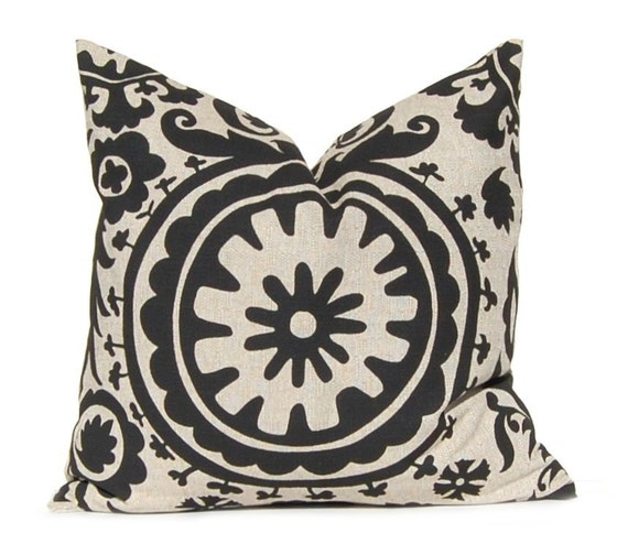 Items similar to Decorative Throw Pillow Cover, Black Pillow Cover, Rustic Black on Stone Denton ...