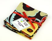 Cloth Napkins 9 inch Set of 4 Lunchbox Cocktail Child Toddler in Alexander Henry Mocha Brown Red Turquoise Yellow