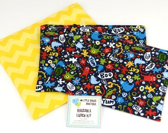 Reusable Sandwich and Snack Sack Kit in Michael Miller Don't Eat Me Navy Skulls Monsters
