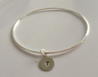 Silver bangle, initial charm, personalized, bracelet - SILVER BANGLE & INITIAL