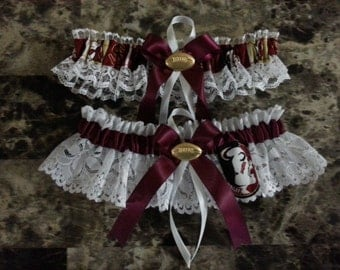 Wedding Garters Florida State Seminoles lace and fabric garter any size, color or style.