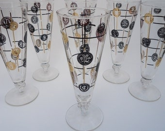 6 Libbey Old Coins Pilsner Beer Glasses, Black and Gold Retro 1950s Barware