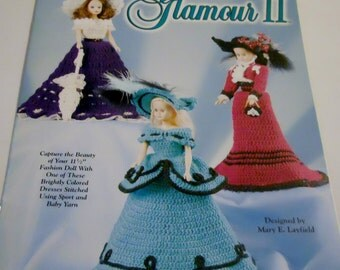 Glamour II Fashion Doll Barbie Gown Dress Crochet Pattern Leaflet Free Shipping