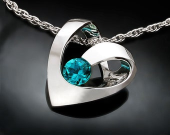 heart necklace, blue topaz pendant, December birthstone, turquoise blue topaz, valentine, for her, modern jewelry - 3401