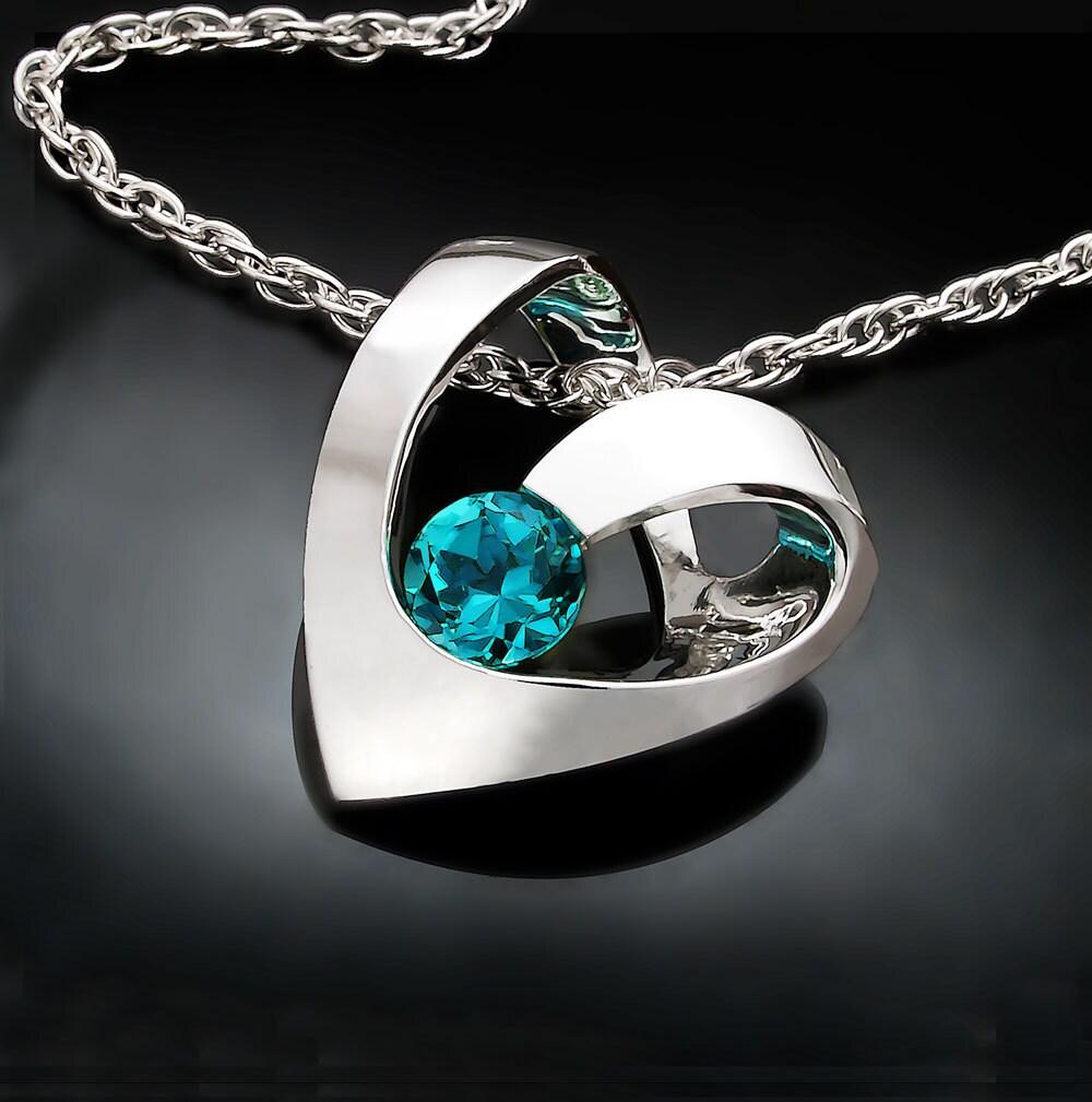 heart necklace blue topaz pendant December birthstone