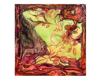 Abstract watercolor print, orange yellow topography art, Colonization: Red Wallpaper 2 (Dog Briar Island)