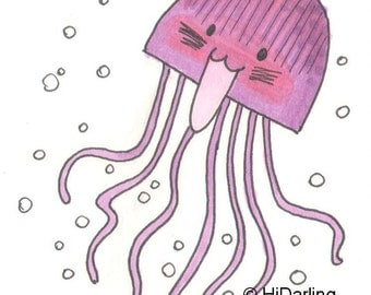 Original Art ACEO - Mortified - Jellyfish Series
