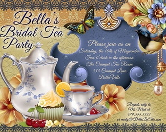 Tea Parties, Bridal Tea Party Invitation, Tea Party Invitations, Garden Tea Party, Party Invitations