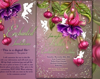 Fairy Invitation, Fairy Party Invitation, Birthday Party Invitations, Fairy Garden Party, Whimsical Invitations