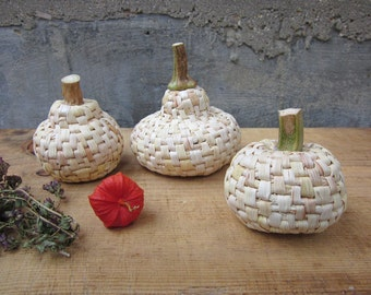 Handmade pumpkins, home decoration, natural maize foliage, table decor, set of 3, Fall decor