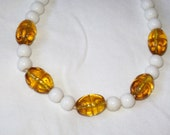 Milk Glass and Clear Amber Vintage Mardi Gras Czech Glass Beads - 1920s