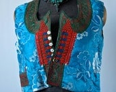 Czech Vest Antique Moravian Blue Silk Brocade Embroidered Folk Costume Bolero Gypsy