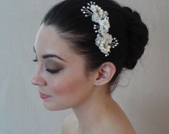 Vintage Inspired Ivory Silk & Lace Hair Comb Adorned with Swarovski pearls and Hand Twisted Crystals - Ships in 1-3 Business Days