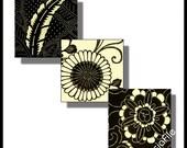 Printable Digital Sheet - Digital  Art - 1 Inch Squares - Asian Art -  Sakura - Printables -  Black and Cream 30 Different Images CS 187