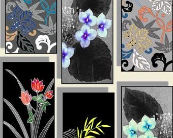 Digital Sheet Digital Art 1X2 Inch  Asian Japanese Kimono Altered Art for Pendants, Dominoes, Scrapbooking, Labels, Tags, Tiles CS18