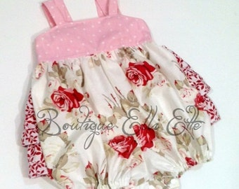 ONLY 2 - 3 LEFT Girls Sunsuit Bubble Romper in Graceful Collection Toddler Infant Girls