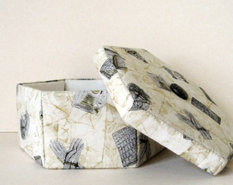 Cream fabric covered decorative storage box or jewelry box