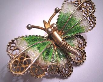 Antique Plique a Jour Enamel Pin Art Nouveau Butterfly