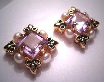 Vintage Rose de France Amethyst Pearl Earrings Wedding
