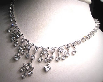 Antique French Paste Necklace Vintage Art Deco Wedding