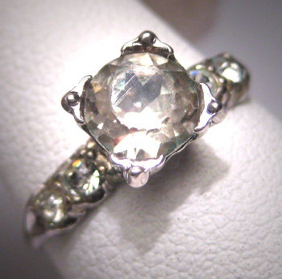 antique white sapphire wedding ring vintage by