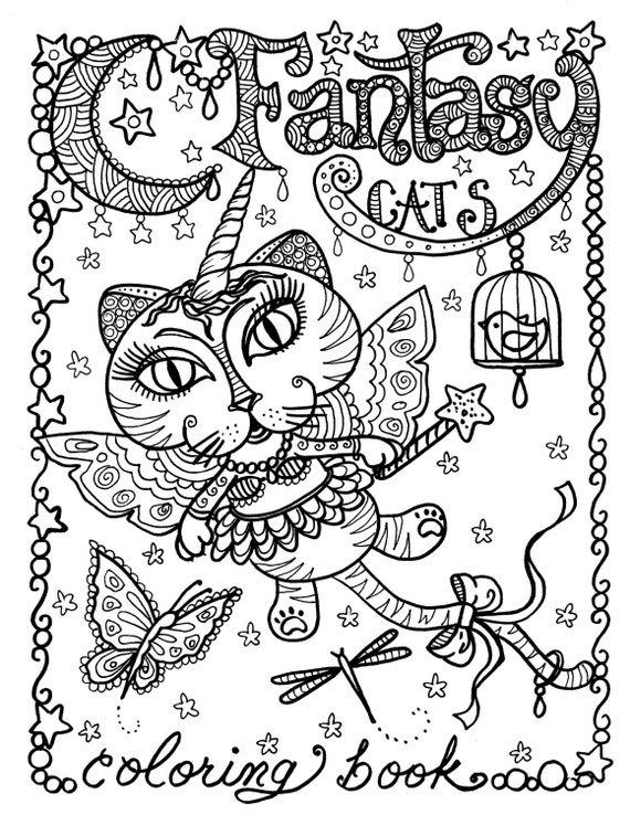 Fantasy cats coloring page for adults