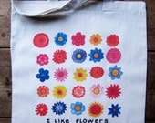 I Like Flowers Natural Canvas Tote Bag