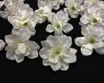 Silk Flowers - 20 Cream White Delphinium Blossoms - ALMOST 1.5 Inches - Artificial Flowers