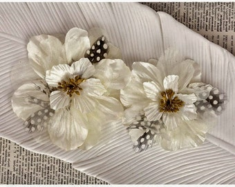Prima Flowers - FIREBIRD WHITE - Layered Fabric Flowers in Two Colors - Scrapbooking - Artificial Flowers