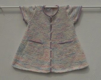Dress/pinafore/smock for baby girl/toddler age 18 months-2 years.Hand knitted using white multi cotton and linen yarn