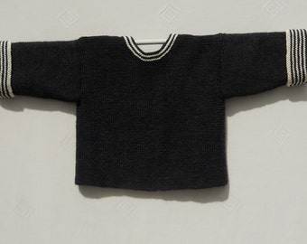 "Baby boys knitted jacket/sweater/top, French style, gray wool, size approx 22"" chest, age 12-18m"