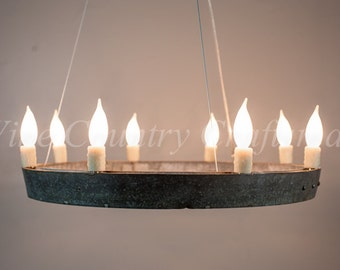 """HALO - """"Coquina"""" - Wine Barrel Ring Chandelier - 100% RECYCLED"""