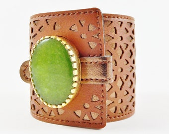 Chunky Green Jade Gemstone Statement Cuff - Soft Geometric Laser Cut Faux Leather