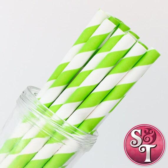 Stripe Lime Party Paper Straws - Cake Pop Sticks - Pixie Sticks - Qty 25