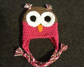 Crochet Owl Winter Hat